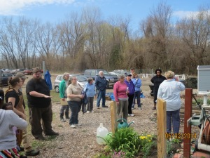 Gardeners learning about the Food Pantry garden 5/3/2014.