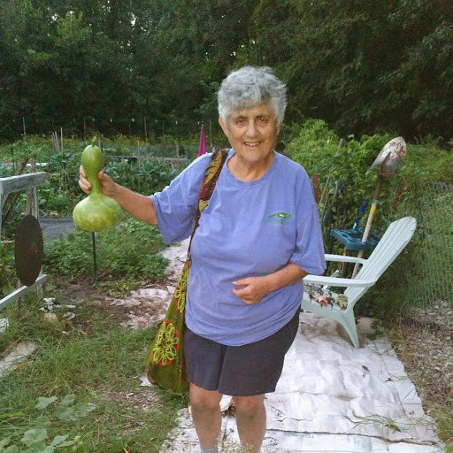 Marie R. with ornamental gourd Sept 2018